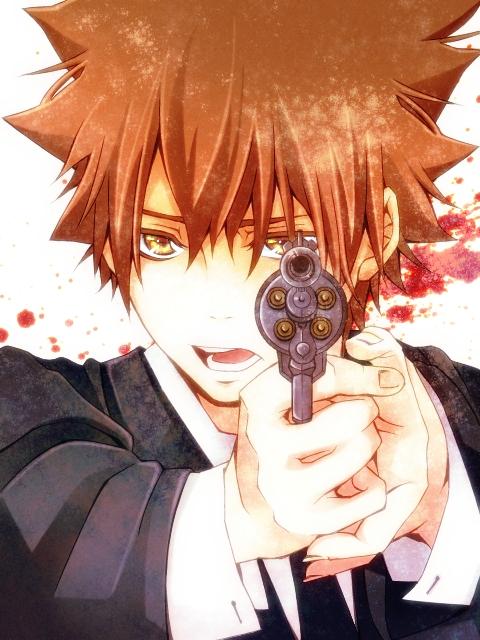 Tags: Anime, Pixiv Id 1877122, Katekyo Hitman REBORN!, Sawada Tsunayoshi, Revolver, Aiming At Camera, Mafia, Fanart, Pixiv