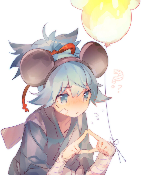 Tags: Anime, Namie-kun, Touken Ranbu, Sayo Samonji, Twiddling With Forefingers, Touching Fingers, Mickey Mouse (Cosplay), Twitter, Fanart, PNG Conversion