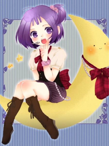 Tags: Anime, Ojamajo DoReMi, Segawa Onpu, Microphone, Sitting On Moon, Brown Footwear, Pixiv Id 4383197