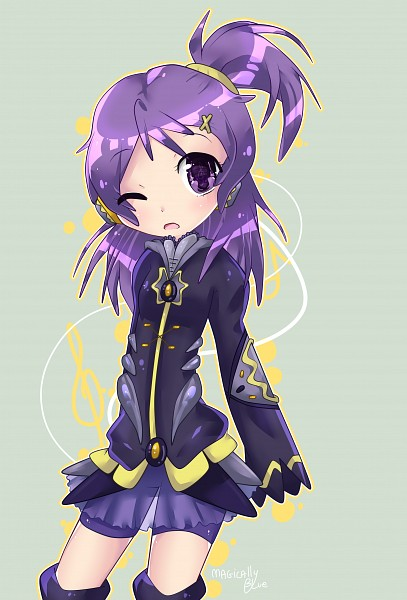 Tags: Anime, Ojamajo DoReMi, Segawa Onpu, Elsword, Green Background, Shiny Eyes, Kiki (Pixiv3423771)