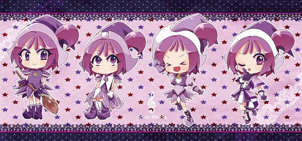Tags: Anime, Ojamajo DoReMi, Segawa Onpu, Broom, Witch Hat, Purple Outfit, Lace Background