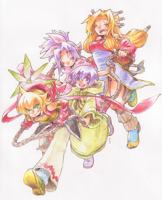 Tags: Anime, Pixiv Id 88366, Seiken Densetsu: LEGEND OF MANA, Lisa (LEGEND OF MANA), Bud (LEGEND OF MANA), Toto (LEGEND OF MANA), Imu (LEGEND OF MANA), Seiken Densetsu Series