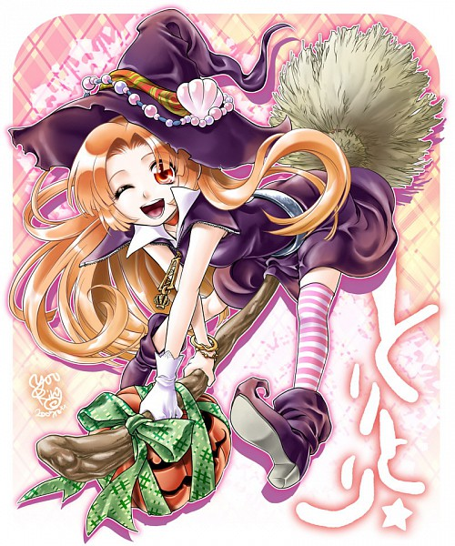 Tags: Anime, Witch, Halloween, Mermaid Melody Pichi Pichi Pitch, Seira (Mermaid Melody), Broom, Pumpkin