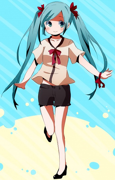 Tags: Anime, Pixiv Id 1591107, Project DIVA Extend, Vocaloid, Hatsune Miku, Blue Background