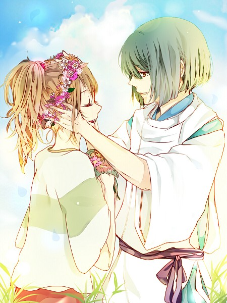 Tags: Anime, Pixiv Id 1931140, Sen to Chihiro no Kamikakushi, Ogino Chihiro, Haku (Sen to Chihiro no Kamikakushi), Flower Crown, Hand On Cheek