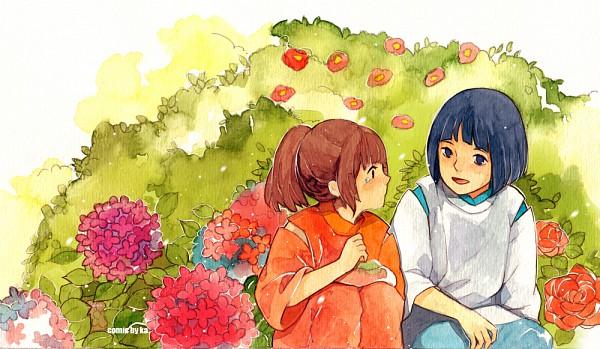Tags: Anime, Ka Xiao En Ka Shu, Studio Ghibli, Sen to Chihiro no Kamikakushi, Haku (Sen to Chihiro no Kamikakushi), Ogino Chihiro, Nature