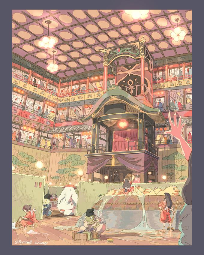 Tags: Anime, Gori Matsu, Sen to Chihiro no Kamikakushi, Lin (Spirited Away), Radish Spirit, Bath House, Pixiv, Fanart, Spirited Away