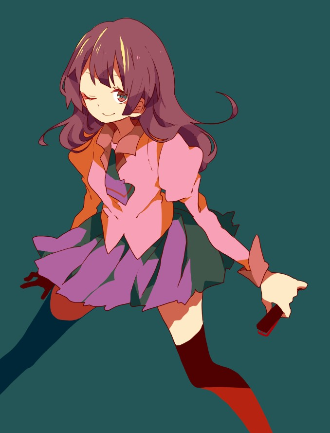 Tags: Anime, Maco22, Monogatari, Senjougahara Hitagi, Green Background