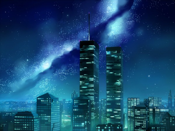 Tags: Anime, Seo Tatsuya, Building, No Character, Skyscraper, Space, City Lights
