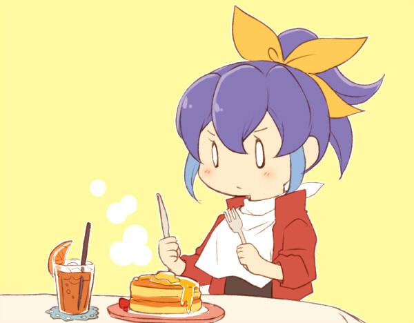 Tags: Anime, Pixiv Id 1357355, Yu-Gi-Oh!, Yu-Gi-Oh! ARC-V, Serena (Yu-Gi-Oh! ARC-V), Straw, O O, No Nose, Ice Cube, Holding Fork, Pancakes, Orange Juice, Looking At Food