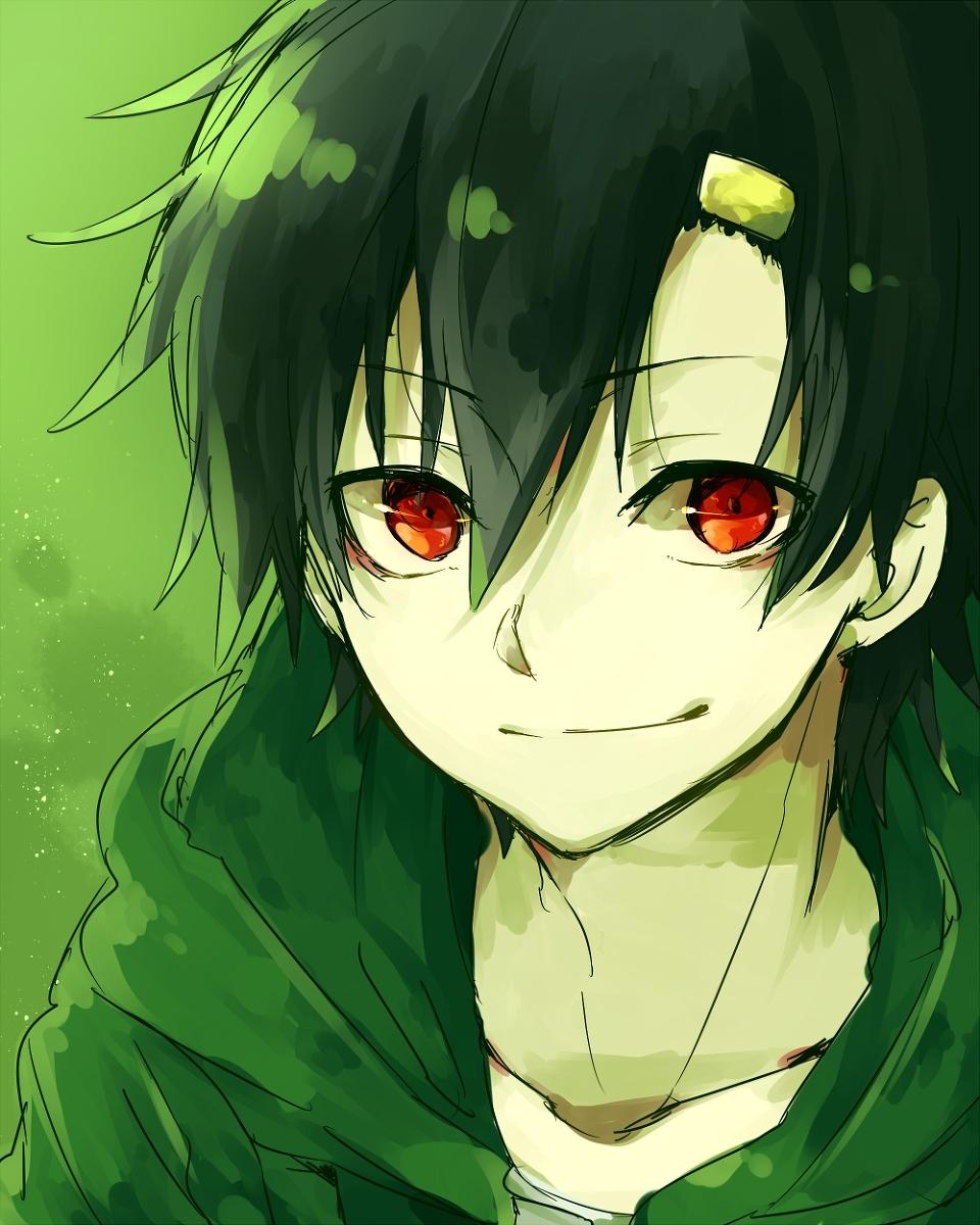 Anime Boy Green Hair Red Eyes The Best Undercut Ponytail