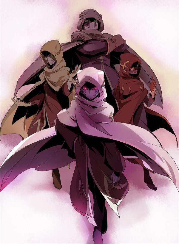 Tags: Anime, Joniko1110, Yu-Gi-Oh! ZEXAL, Yu-Gi-Oh!, Mizael, Alito, Durbe, Girag, Pixiv, Fanart, Fanart From Pixiv, Seven Barian Emperors