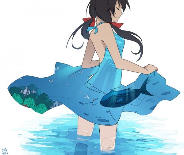 Tags: Anime, Pixiv Id 134779, Axis Powers: Hetalia, Seychelles, Wading, Fish