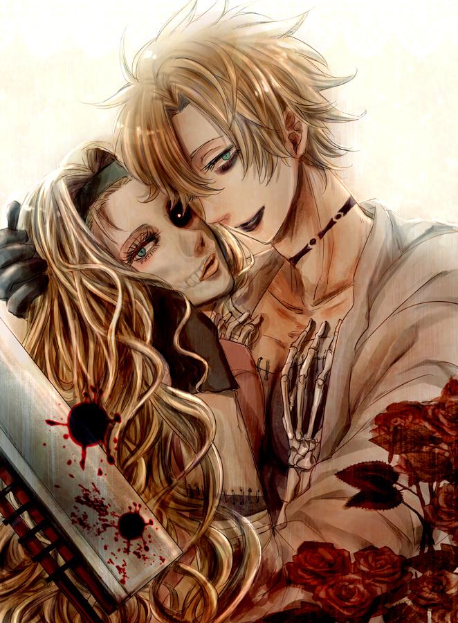 Tags: Anime, 50 Yen, Shaman King, Johann Faust VIII, Eliza Faust, Skeleton Arm, Black Lips, Pixiv, Fanart From Pixiv, Mobile Wallpaper, PNG Conversion, Fanart