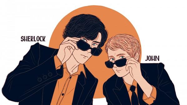 Tags: Anime, Pixiv Id 382833, Sherlock Holmes, Sherlock BBC, Sherlock Holmes (Character), Dr. John Watson, Sunglasses