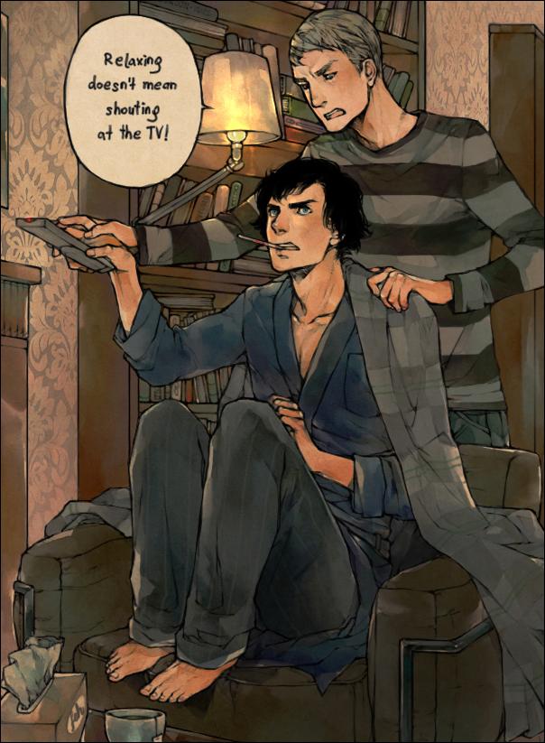 Tags: Anime, Lanimalu, Sherlock BBC, Sherlock Holmes, Benedict Cumberbatch (Actor), Dr. John Watson, Sherlock Holmes (Character), Sick, Remote, Tumblr, Fanart