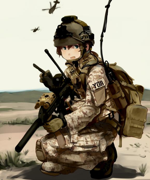 Tags: Anime, Shibafu, Helicopter, Soldier, Bulletproof Vest, Green Gloves, Pixiv, Original