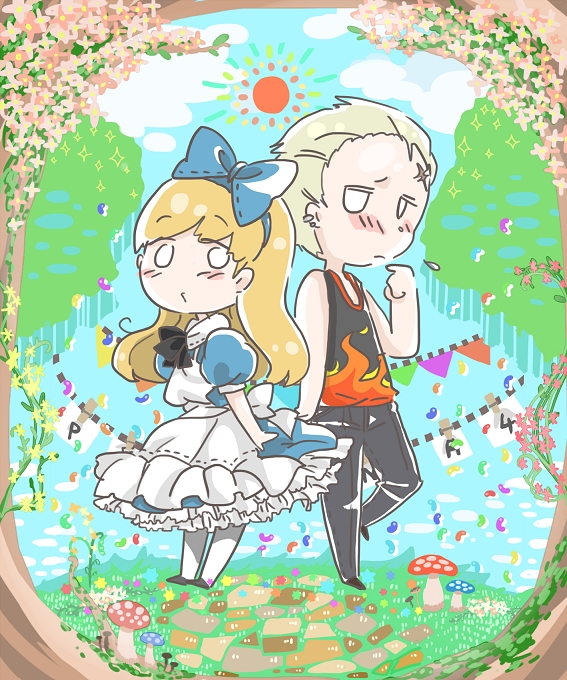 Tags: Anime, Pixiv Id 2431799, Shin Megami Tensei: PERSONA 4, Kuma, Tatsumi Kanji, Alice (Alice in Wonderland) (Cosplay), Wig, Fanart From Pixiv, Pixiv, Fanart