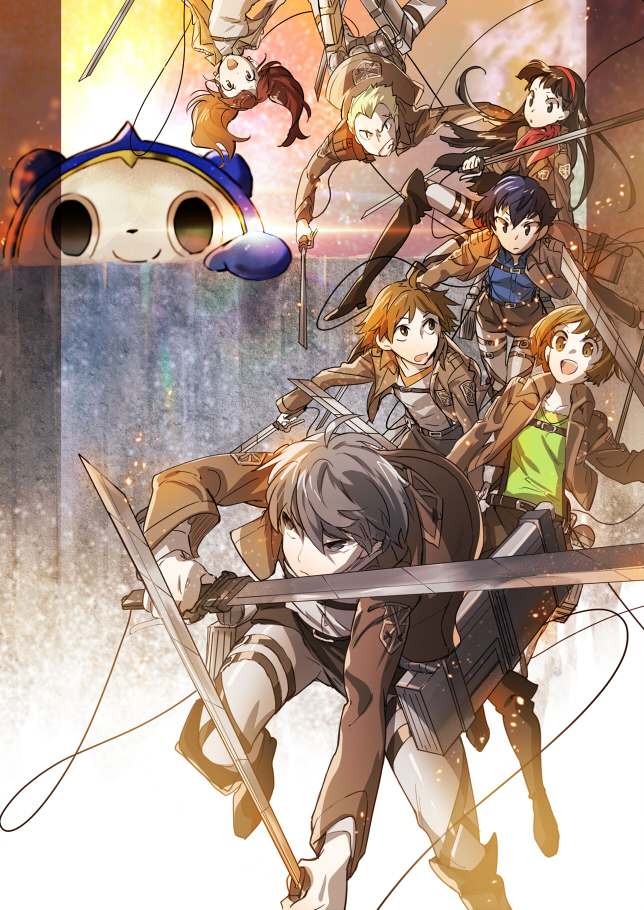 Tags: Anime, Kazune (Pixiv5519), Shin Megami Tensei: PERSONA 4, Amagi Yukiko, Hanamura Yousuke, Kujikawa Rise, Kuma, Shirogane Naoto, Tatsumi Kanji, Satonaka Chie, Narukami Yu, Shingeki no Kyojin (Cosplay), Shingeki no Kyojin (Parody)