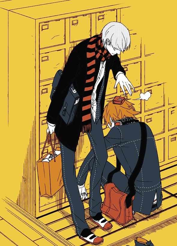 Tags: Anime, Pixiv Id 245298, Shin Megami Tensei: PERSONA 4, Hanamura Yousuke, Narukami Yu, GIF Conversion, Mobile Wallpaper