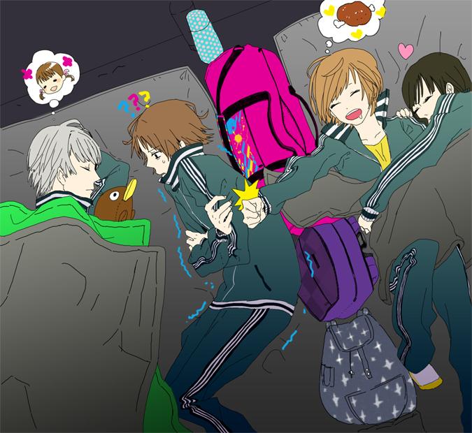 Tags: Anime, 26262626 (Artist), Shin Megami Tensei: PERSONA 4, Amagi Yukiko, Narukami Yu, Doujima Nanako, Hanamura Yousuke, Satonaka Chie, Stuffed Platypus, Meat, Pixiv, Fanart