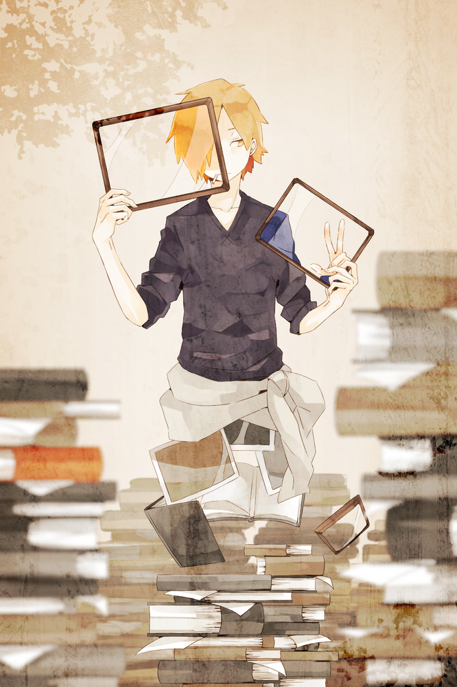 Tags: Anime, Sidu, Horimiya, Shindou Kouichi, V-neck, No Legs, Stack Of Books, PNG Conversion, Pixiv, Mobile Wallpaper, Fanart From Pixiv, Fanart