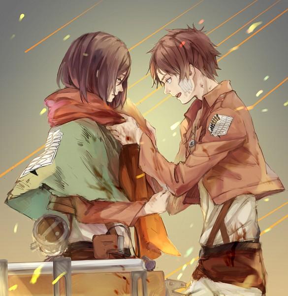 Tags: Anime, Quan-, Shingeki no Kyojin, Eren Jaeger, Mikasa Ackerman, Injury