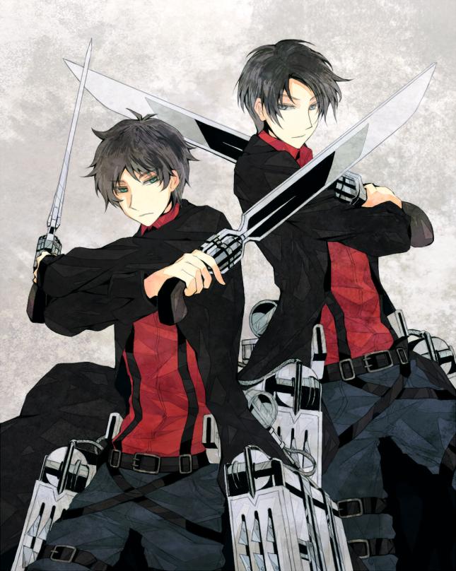 Tags: Anime, Pixiv Id 1155897, Shingeki no Kyojin, Eren Jaeger, Levi, Three Dimensional Maneuver Gear