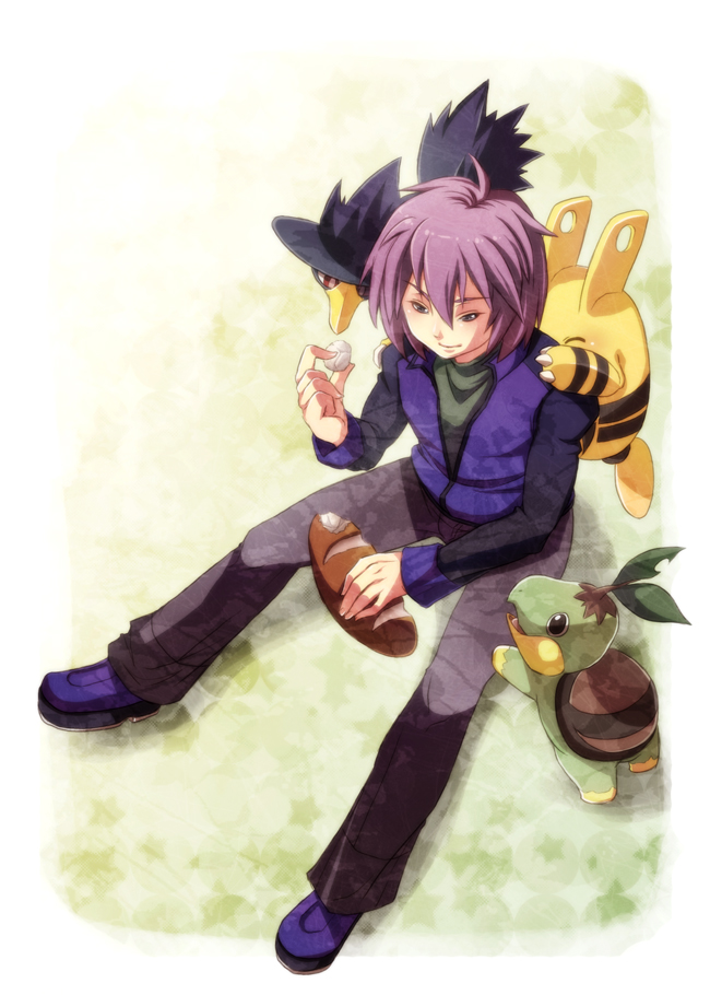 Tags: Anime, Pixiv Id 537900, Pokémon, Shinji (Pokémon), Turtwig, Murkrow, Elekid, Mobile Wallpaper