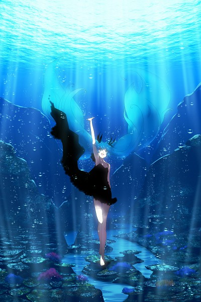 Tags: Anime, Haruyo (Imokenp), VOCALOID, Hatsune Miku, One Arm Up, Underwater, Bubble
