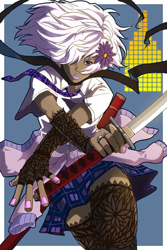 white anime hair skin Dark girl with
