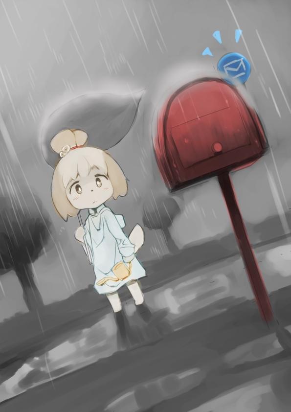 Tags: Anime, Pixiv Id 3748123, Doubutsu no Mori, Shizue (Doubutsu no Mori), Leaf Umbrella, Watering Can, Mailbox, Pixiv, Fanart From Pixiv, Fanart, Mobile Wallpaper