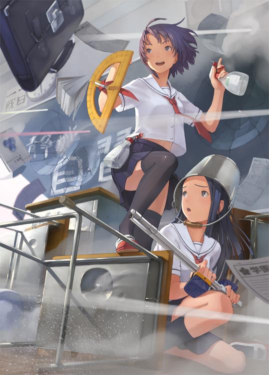 Tags: Anime, Shizuma Yoshinori, Protractor, Bucket, Stationery, Radar, Chalkboard, Pixiv