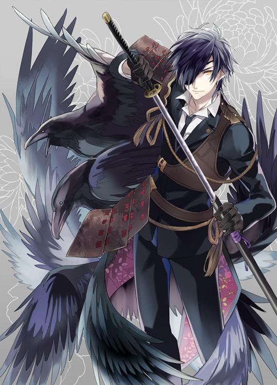 Tags: Anime, Black Akazome, Touken Ranbu, Shokudaikiri Mitsutada, Black Bird, Tachi, Fanart, Mobile Wallpaper, Fanart From Pixiv, Pixiv