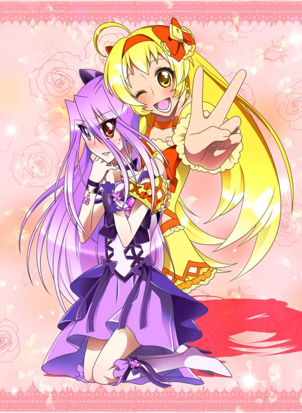 Tags: Anime, 0417nao, Shuffle! Precure, Pretty Cure Fan Series, Crown Joker, Nobara Rei, Kihara Mirai, Cure Jewel, Pixiv