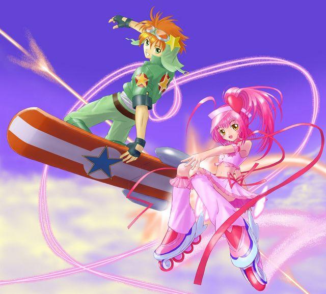 Tags: Anime, Shugo Chara!, Hinamori Amu, Sky Jack, Souma Kukai, Amulet Heart, Skating, Roller Skates, Hoverboard, Skateboard, Fanart
