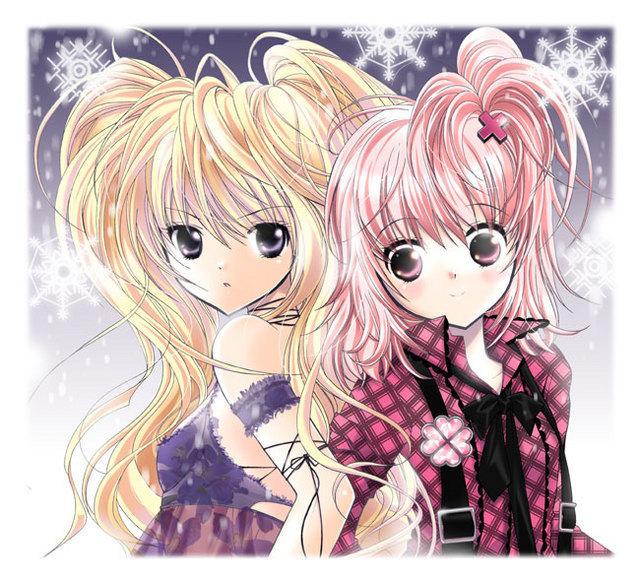 Tags: Anime, Yaotetsu, Shugo Chara!, Hoshina Utau, Hinamori Amu, Cross Clip, HosenträGer, Four-leaf Clover, Fanart