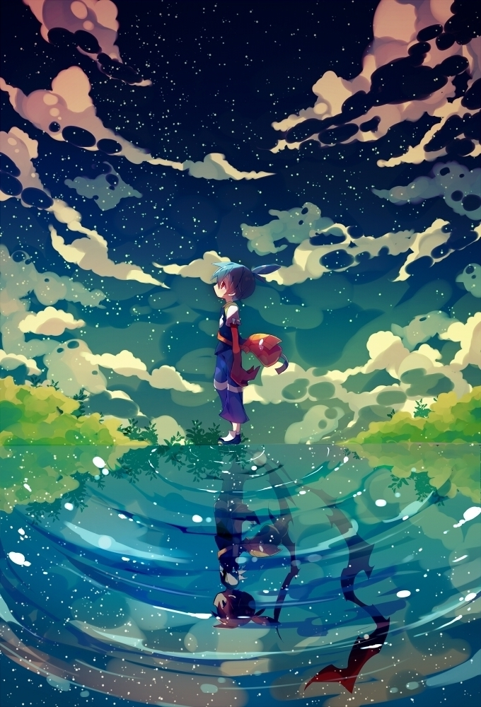 Tags: Anime, Ana (Rznuscrf), Puyo Puyo, Black Sig, Sig, Ripples, Water Reflection, Walking On Water, Fanart, Fanart From Pixiv, Pixiv, Mobile Wallpaper