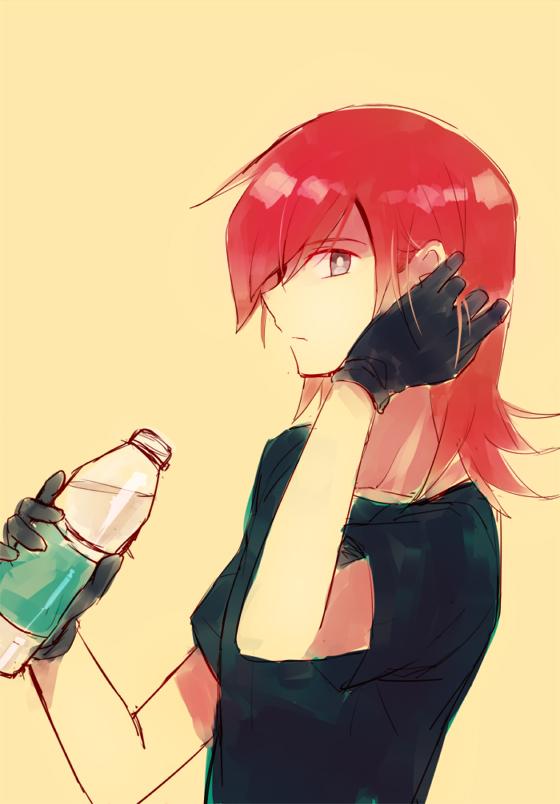 Tags: Anime, hwertur, Pokémon SPECIAL, Pokémon, Silver (Pokémon SPECIAL), Bottle, Fixing Hair
