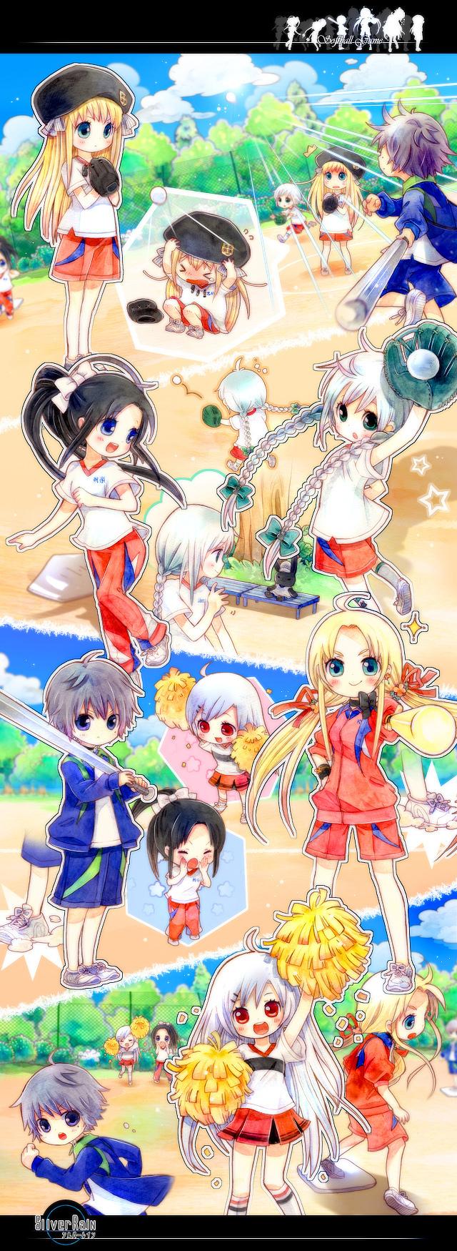 Tags: Anime, Silver Rain, Kokujiyou Aya, Souryu Aina, Elerey Silverstone, Sakura Hiyori, Azumi Sola, Freia Kursiu, Baseball