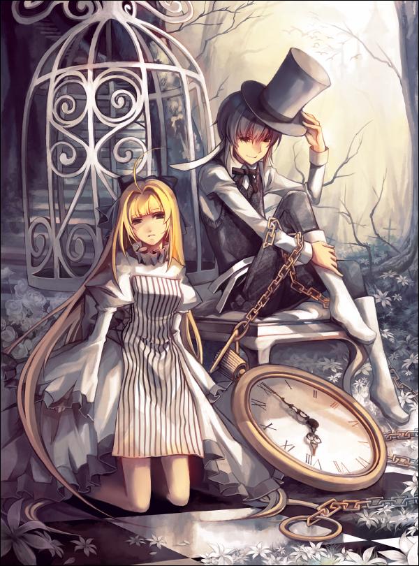 Картинки времени и парня аниме