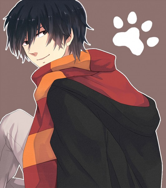 Tags: Anime, Pixiv Id 797264, Harry Potter, Sirius Black, Paw Print, Brown Background