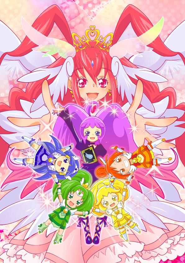 Tags: Anime, Pixiv Id 345189, Smile Precure!, Cure Beauty, Aoki Reika, Cure Sunny, Ultra Cure Happy, Midorikawa Nao, Cure Peace, Hino Akane, Cure March, Nico (Smile Precure!), Hoshizora Miyuki