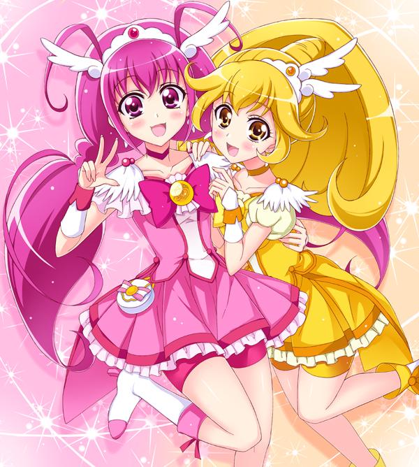 Tags: Anime, Pixiv Id 5170635, Smile Precure!, Hoshizora Miyuki, Cure Peace, Cure Happy, Kise Yayoi, Pink Shorts, Pixiv, Fanart, Fanart From Pixiv