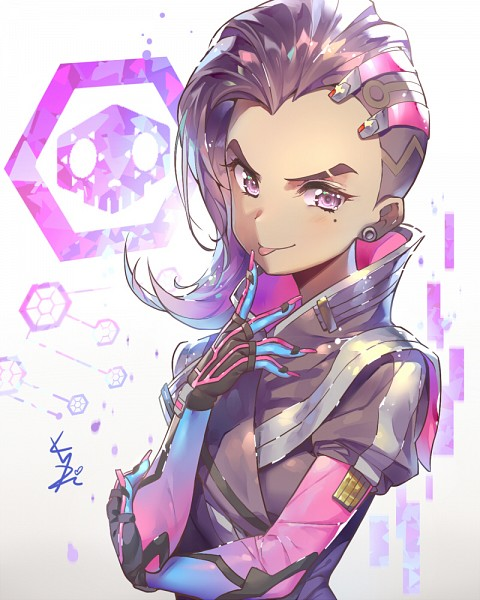 Tags: Anime, kakiman, Overwatch, Sombra (Overwatch), :P, Asymmetrical Hairstyle, Pink Nails
