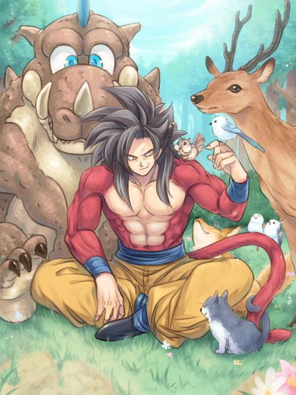 Tags: Anime, Pixiv Id 9744792, DRAGON BALL, DRAGON BALL GT, Son Goku (DRAGON BALL), Deer, Fanart, Mobile Wallpaper, Pixiv, Fanart From Pixiv, Super Saiyan 4, Super Saiyan