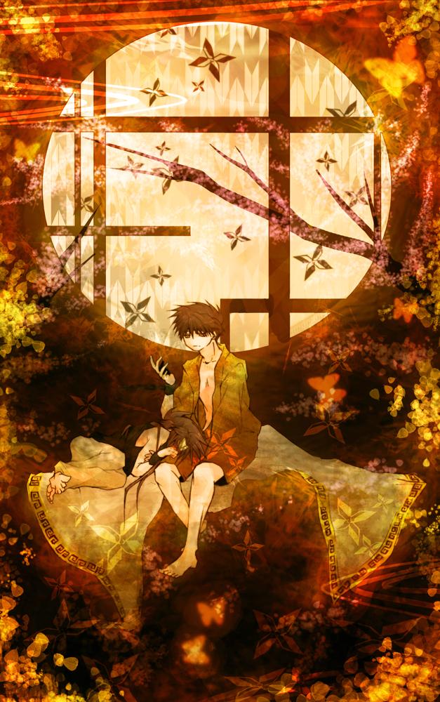 Tags: Anime, Amber (Artist), Saiyuki, Saiyuki Gaiden, Son Goku (Saiyuki), Shackles, Round Window, Mobile Wallpaper
