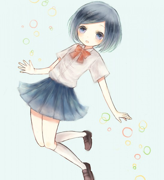 Tags: Anime, Knee High Socks, Bubble, Jumping, Level-5, Red Bow, Straight Hair