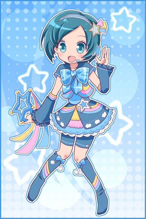 Tags: Anime, Blue Ribbon, Inazuma Eleven, Blue Dress, Level-5, Star Background, Inazuma Eleven GO