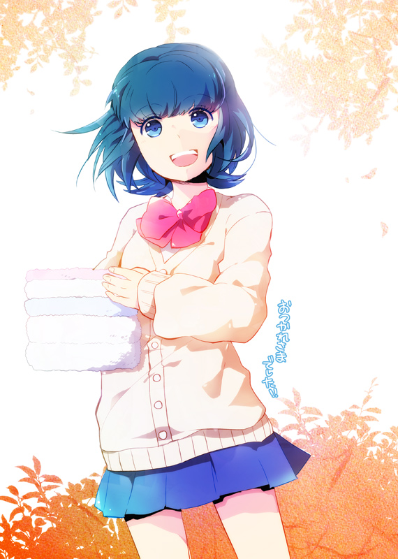 Tags: Anime, Sweater, Towel, Kusa Chuu, Blue Skirt, Inazuma Eleven GO, Sorano Aoi